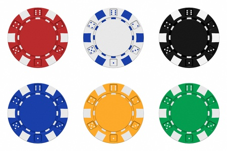 gambling chip: Realistic 3d rendered collection of coloured casino chips