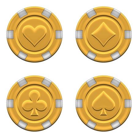 fichas de casino: Realista 3d rindi� la colecci�n de fichas de casino de oro, aislado sobre fondo blanco