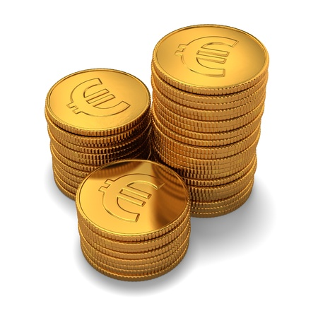 coin stack: 3d rendering of small group of gold euro coins on white background
