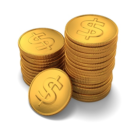 3d rendering of small group of gold dollar coins on white background