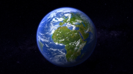 mankind: 3D realistic illustration of a peaceful all green no desert planet earth in 16:9