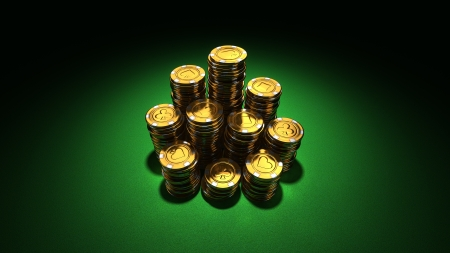3d rendering of large stacks of gold casino chips on green felt photo