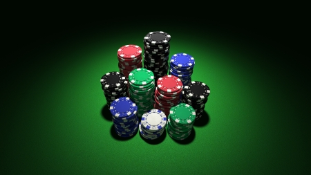3d rendering of large stacks of colorful casino chips on classic green background Stock Photo - 15279546