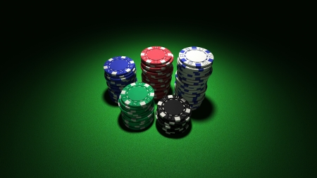 3d rendering of medium stacks of colorful casino chips on classic green background Stock Photo - 15279548