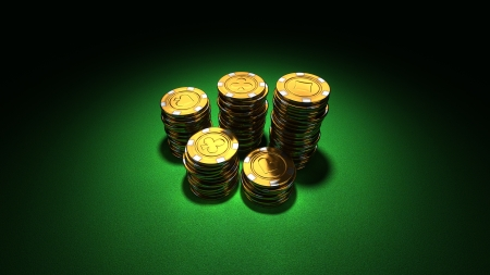 3d rendering of medium stacks of gold casino chips on green felt photo