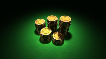 inset: 3d rendering of medium stacks of gold casino chips on green felt