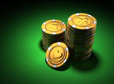 Representación 3d de pequeñas pilas de fichas de casino de oro en fieltro verde