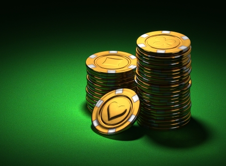 poker chip: 3d rendering of small stacks of gold casino chips on green felt, shifted Stock Photo
