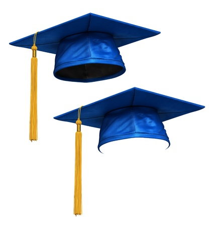 eminent: 3D render of blue graduation cap with gold tassel isolated on white background
