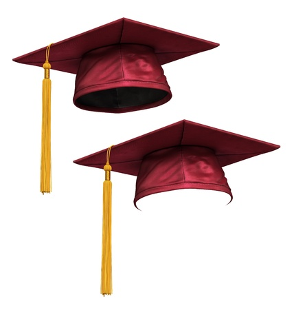 mallow: 3D render of red (mallow) graduation cap with gold tassel isolated on white background Stock Photo