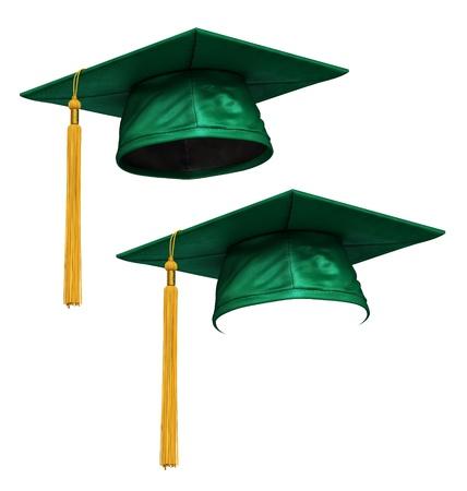 graduacion de universidad: Render 3D de graduaci�n de la tapa verde con borla de oro aisladas sobre fondo blanco Foto de archivo