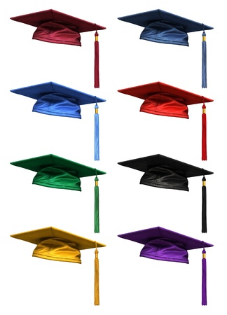 college graduate: 3D collection of colorful high quality graduation caps  isolated on white background