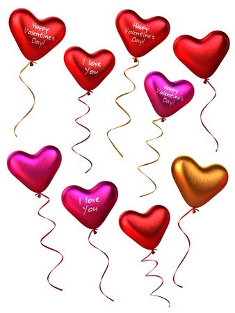 3D flake metal style collection of heart shape balloons  isolated on white Stock Photo - 15279541
