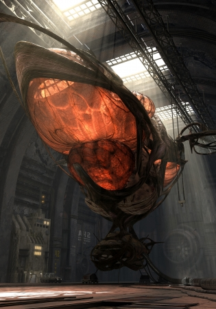 docking: 3D illustration of an organic fantasy airship in the hangar