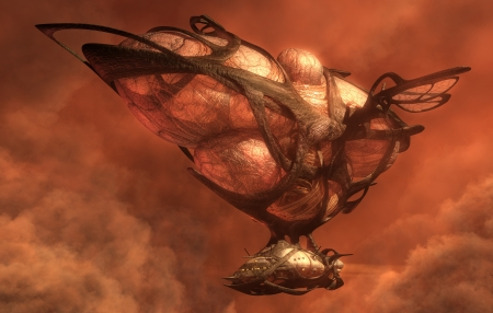 fantasy fiction: 3D illustration of an organic fantasy flying airship  Stock Photo