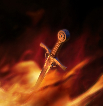 3D illustration of a high quality medieval sword in fire Stock Photo