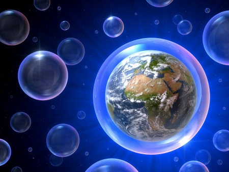 overpopulation: There are so many bubbles but only one is our home, 3D concept