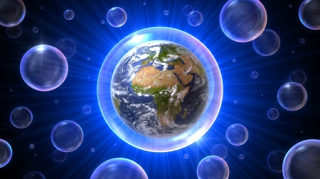 vulnerabilities: Our home the earth with Africa - Europe - Middle East in a bubble atmosphere in a bubbles universe, 3D concept 16:9