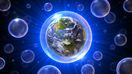 mankind: Our home the earth with America in a bubble atmosphere in a bubbles universe, 3D concept 16:9