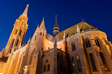 schulek: Matthias Church in Castle District of Budapest - Hungary at night