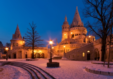 The Fisherman s Bastion in winter in Budapest Stock Photo - 15451811