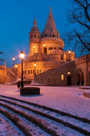 schulek: The Fishermans Bastion in winter in Budapest, vertical composition Editorial