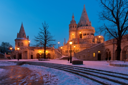 fisherman bastion: The Fisherman s Bastion in winter in Budapest