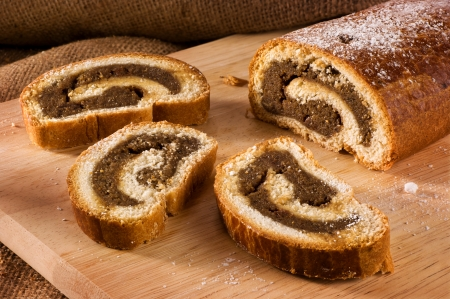 Traditional hungarian folk cake xmas walnut rolls bejgli
