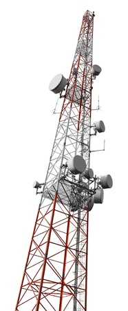 Mobile phone communication antenna tower isolated on white  photo