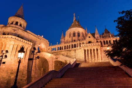 burg: The stairs of the Fishermans Bastion in Budapest - Hungary at night