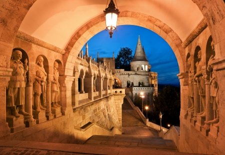 schulek: The south gate of the Fishermans Bastion in Budapest Editorial