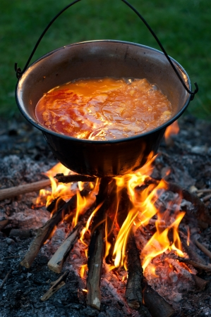 Cooking traditional hungarian potato stewed with paprika and onions in a cauldron, stew-pot