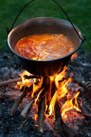 Koken traditionele Hongaarse aardappel gestoofd met paprika en uien in een ketel, stoofpot