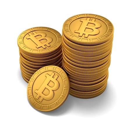 3D rendering of small group of paneled golden Bitcoins on white background Stock Photo