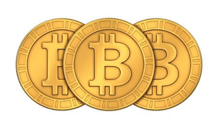 frontal: Frontal view of three 3D rendered paneled golden Bitcoins isolated on white background Stock Photo