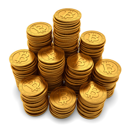 gold mining: 3D rendering of large group of paneled golden Bitcoins, isolated on white background Stock Photo