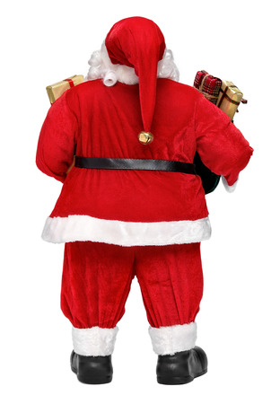 classic santa: Funny Santa Claus doll with presents - back view, isolated on white background