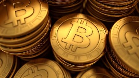 3D close-up illustratie van panelen gouden Bitcoins groep met scherptediepte vervaging Stockfoto