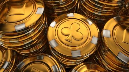 Close up illustration of gold casino chips stack - 3D rendered image