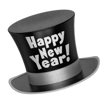 光沢のある金属の黒新年あけましておめでとうございますのシルクハットの 3 D のレンダリング スタイルをフレーク - 白い背景で隔離の表面
