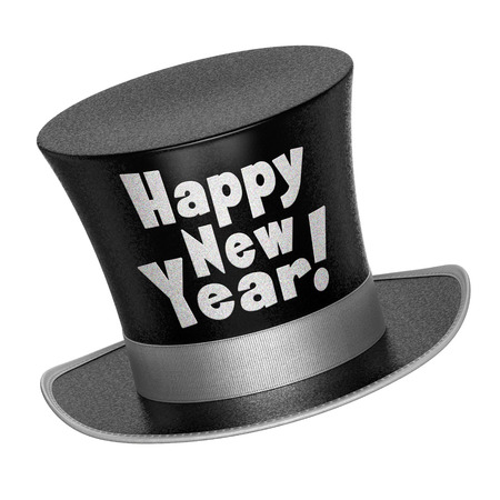 top of the year: 3D render of a black Happy New Year top hat with shiny metallic flakes style surface - isolated on white background