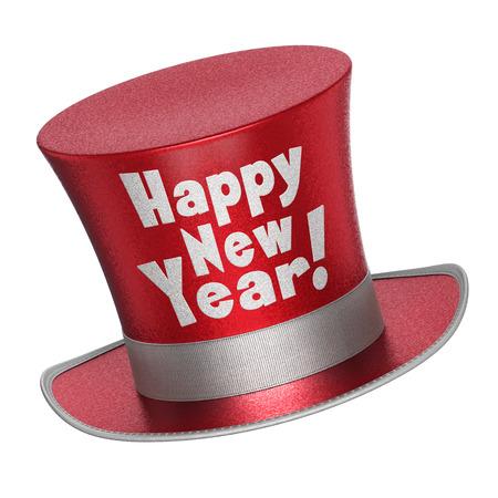 3D geef van een rode Gelukkig Nieuwjaar hoge hoed met glanzende metallic vlokken stijl oppervlak - op een witte achtergrond Stockfoto