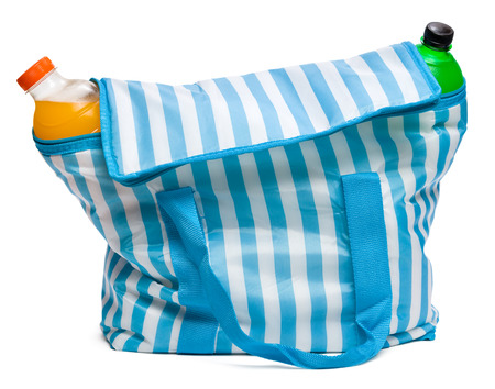 Closed standing blue striped cooler bag with full of cool refreshing drinks, isolated on white photo