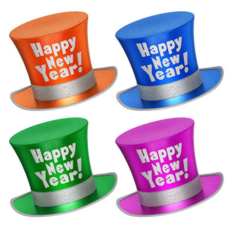 silk hat: 3D rendered collection of colorful Happy New Year top hats with shiny metallic flakes style surface - isolated on white background Stock Photo