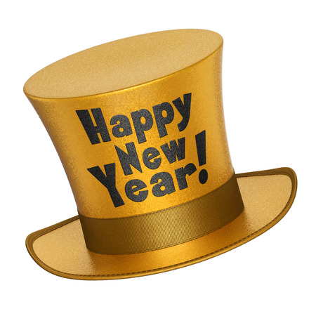 new year greetings: 3D render of a golden Happy New Year top hat with shiny metallic flakes style surface - isolated on white background