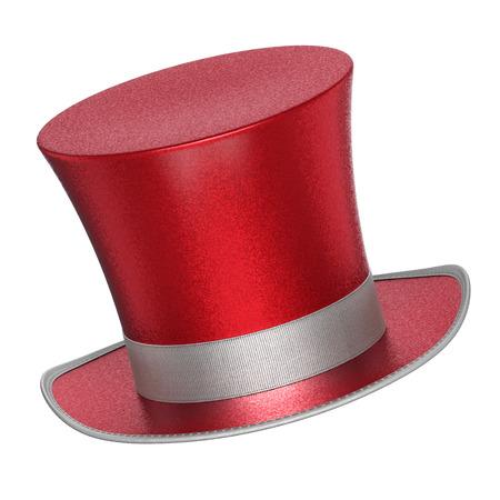 3D teruggegeven rode decoratie hoge hoeden met glanzende metallic vlokken stijl oppervlak - geïsoleerd op een witte achtergrond Stockfoto