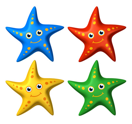 looking ahead: 3D rendered stylized collection of colorful toys smiling starfish isolated looking ahead