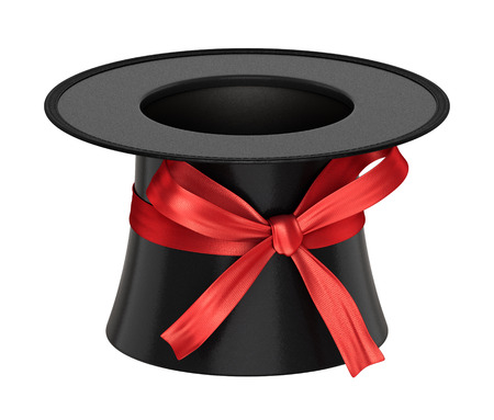 celebration card: 3D rendered black decoration top hat with red ribbon and shiny flakes style surface - isolated on white background