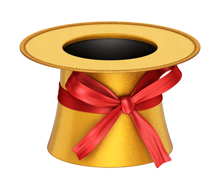 party hat: 3D rendered golden decoration top hat with red ribbon and shiny metallic flakes style surface - isolated on white background