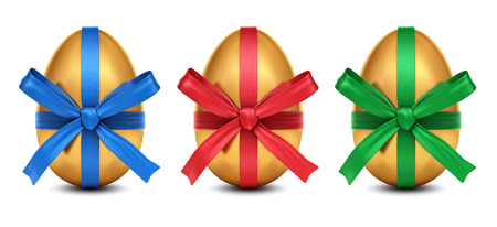 egg: Collection of 3D rendered golden Easter eggs with colorful ribbon bows decoration, isolated on white